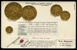 CPA. Carte Postale Avec Pavillon National.... Monnayage International. Le Japon. - Coins (pictures)