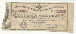 ESPOSIZIONE IN MILANO 1881 - Billets De Loterie