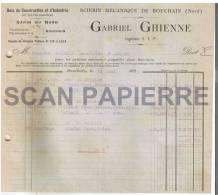 Facture 535 Scierie Mécanique Gabriel Ghienne à Bouchain 1922 - 1900 – 1949
