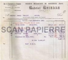Facture 536 Scierie Mécanique Gabriel Ghienne à Bouchain 1922 - 1900 – 1949