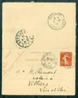 Carte Lettre 10 Centimes Semeuse Oblitéré Cad Gare De La Ferté ( Sarthe ) En Aout 1911 - Aa15304 - 1877-1920: Periodo Semi Moderno