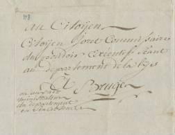 600/20 - Document Du Commissaire Du Canton De MARKEGHEM An 4 Vers BRUGES - 1794-1814 (French Period)