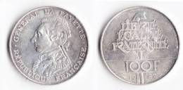 """SUPERBE---PIECE 100 FRANCS ARGENT 1987 """"La Fayette""""---ETAT : SUP - N. 100 Francs"""