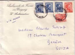 URUGUAY-AMBASSADE DE FRANCE L'AMBASSADEUR-LETTRE POUR LA SUISSE. - Uruguay