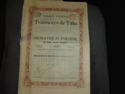"""Obligation""""Tramways De Tiflis""""Georgie. Avec Part Beneficiaire Attachée 1902 Reste Des Coupons - Railway & Tramway"""