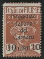 ITALIA 1920 (FIUME) - Yvert #131 - MLH * - 9. Occupazione 2a Guerra (Italia)