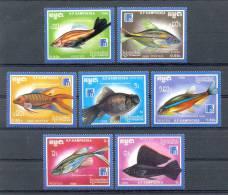 Mui004 FAUNA VISSEN FISH ZIERFISCHE MARINE LIFE KAMPUCHEA 1988 PF/MNH - Fische