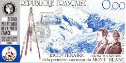 032 Carte Officielle Exposition Internationale Exhibition Najubria 1986 France FDC 200 Ans Ascension Mont Blanc Alpes - Geografia