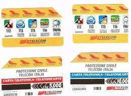 TELECOM ITALIA - C.& C. 2534.2535 - PROTEZIONE CIVILE TELECOM BILINGUE AA (SERIE DI 2 SCHEDE DIVERSE)   - USATE - Pubbliche Speciali O Commemorative
