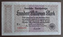 Banknote Papermoney Deutsches Reich 1923 Reichsbahn Hundert Millionen Mark  Ec 122449 - [11] Local Banknote Issues