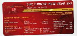 Billet  Entree Nouvel An Chinois - Biglietti D'ingresso