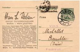 AUTRICHE ENTIER POSTAL AVEC PUBLICITE POUR LA FRANCE 1922 - Ganzsachen