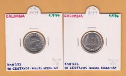 COLOMBIA  10  Centavos  1.974  Niquel Acero  KM#253  SC/UNC      DL-8037 - Colombia