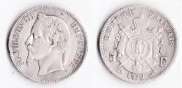 A SAISIR--TRES BELLE PIECE---5 FRANCS NAPOLEON III 1870 A --ETAT TB//TTB++ - France