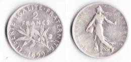 ASSEZ RARE ---2 FRANCS SEMEUSE ARGENT 1899--- ETAT : TB//TTB - France