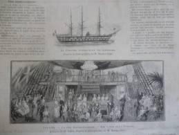 Toulon , La Féte Hispano Française , Bal A Bord De La Couronne , Gravure D'aprés Dessin De Sahib 1888 - Documents Historiques