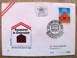 Cover Sent In Austria Osterreich Ersttag Fdc 1975 Bausparen - 1945-.... 2nd Republic