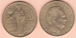 MONETA DA 20 CENTESIMI DEL 1978 DI MONACO COME DA IMMAGINE - Monaco
