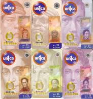 SERIE COMPLETA DE 6 TARJETAS DE VENEZUELA CON UNA MONEDA Y TODA LA SERIE DE BILLETES (COIN-BANKNOTE) - Sellos & Monedas