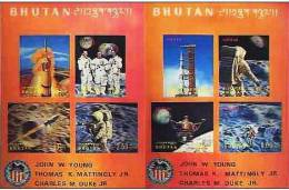 BHOUTAN-BHUTAN: Cosmos Espace. 2 Blocs Feuillets En 3D (Michel: 52/53)  Neuf Sans Charniere ** MNH. APOLLO 16 - Espacio