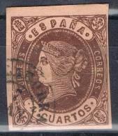 Sello 4 Cuartos Isabel II 1862, Fechador CALAHORRA (Logroño) Rioja, Num 58 º - 1850-68 Kingdom: Isabella II