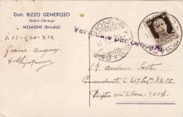 """MESAGNE  /  Card _ Cartolina Pubblicitaria """" Dott. RIZZO GENEROSO - Medico Chirurgo """" _ Viaggiata - Brindisi"""