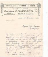 14 DOZULE FACTURE GEORGES GOUEDARD FOURAGES POMMES CIDRE - Francia
