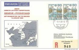 CH - 16293 - Enveloppe 1ère Liaison Postale Directe Genpve-Pyongyang Via Beijing 1980 - Avions