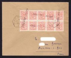 """Annulation Timbres Belges Par Griffe Et Cachet Recette Auxilliaire """" AULNAY SOUS BOIS """" / Enveloppe De 1964 - Marcophilie (Lettres)"""