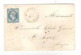 Lettre De VILLEFRANCHE D'ALBIGEOIS, Tarn,GC 4237 / N° 22 + Cachet PERLE Du 23 Novembre 1865 > Saint Sever, Aveyron - 1849-1876: Klassik