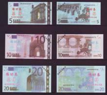 (Replica)China BOC (bank Of China) Training/test Banknote,Euros D Series 7 Different Note Specimen Overprint - Essais Privés / Non-officiels