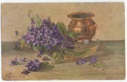 CPA - Art - Peinture - Signée N. BERAUD -  Fleurs , Vase - OILETTE - Pintura & Cuadros