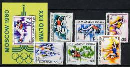 Bulgaria 1979 Olympic Games Moscow, Athletics Set Of 6 + S/s MNH - Ete 1980: Moscou