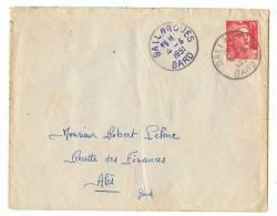 Enveloppe  Poste   Gallargues 1951 Sur Timbre 15 F   Rouge - Marcophilie (Lettres)
