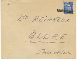 Obliteration Griffe Lineaire Sur Lettre  Tours Gare Apposée Sur Timbre 15 C Mariane De Candon Bleue - Marcophilie (Lettres)