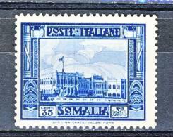 Somalia 1935-38 Serie 42 Pittorica 2 Dent 14, N. 220 C 35 Azzurro MH Cat. € 50 - Somalia
