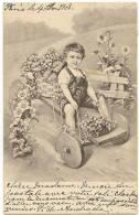 Illustration  Illustrateur  Enfant Sur Voiture En Bois  Chariot  1903   /13323 - Illustratori & Fotografie