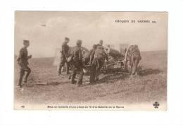 CPA : Mise En Batterie D'une Pièce De 75 à La Bataille De La Marne - Guerre 1914-18