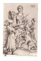 CPA : Etrennes De La France 1915 : Représentation De La France Recevant Les Drapeaux : Soldats à Ses Pieds : Signé PLOIX - Guerre 1914-18