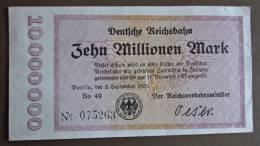 Banknote Papermoney Deutsches Reich 1923 Reichsbahn Zehn Millionen Mark - [11] Local Banknote Issues