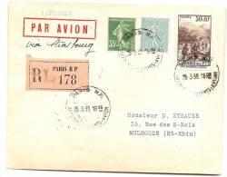ENVELOPPE IMPRIME PAR AVION   RECOMM PARIS  RP  1938  OBLIT  HOROPLAN /SEMEUSES - France