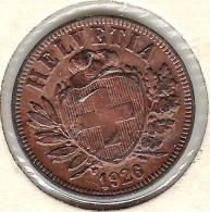 2 Rappen / Centime 1926 (Bronze O 20mm, 3g)  -unz / -unc. Originalpatina - Suisse