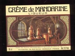 Etiquette  De  Crème  De Mandarine  -  Ets Coutou  à  Bordeaux  (33) - Etichette