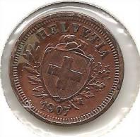 1 Rappen / Cent 1907  ( Bronze, O 16mm, 1.5g)   Vz/ Xf Gereinigt - Nettoyée - Cleaned - Suisse