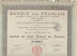 ACTION 100 FRANCS BANQUE DES FRANCAIS - 1897 - Banque & Assurance
