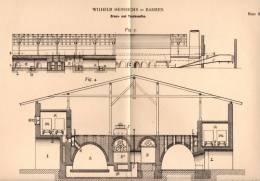 Original Patentschrift - W. Heinrichs In Barmen , 1897 , Ziegelei , Ziegel , Brennofen , Trockenofen , Thon !!! - Architektur