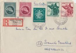 R-Brief Dt. Dienstpost Böhmen Und Mähren Mif Minr.894,895,896,897,898 Prag 17.9.44 - Besetzungen 1938-45