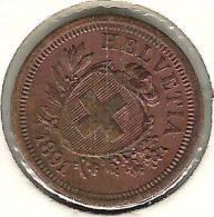 1 Rappen / Cent 1891 ( Bronze, O 16mm, 1.5g)   Vz+  Xf+ Original-Patina - Suisse