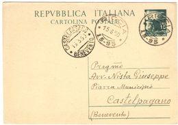 J084) ITALIA CARTOLINA POSTALE DEL 1949 VIAGGIATA - 6. 1946-.. Repubblica