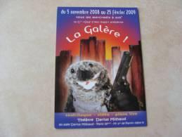 Carte Publicitaire - THEATRE DARIUS MILHAUD - LA GALERE! - Ventriloque - Vidéo - Piano Live - 2009 - Publicité